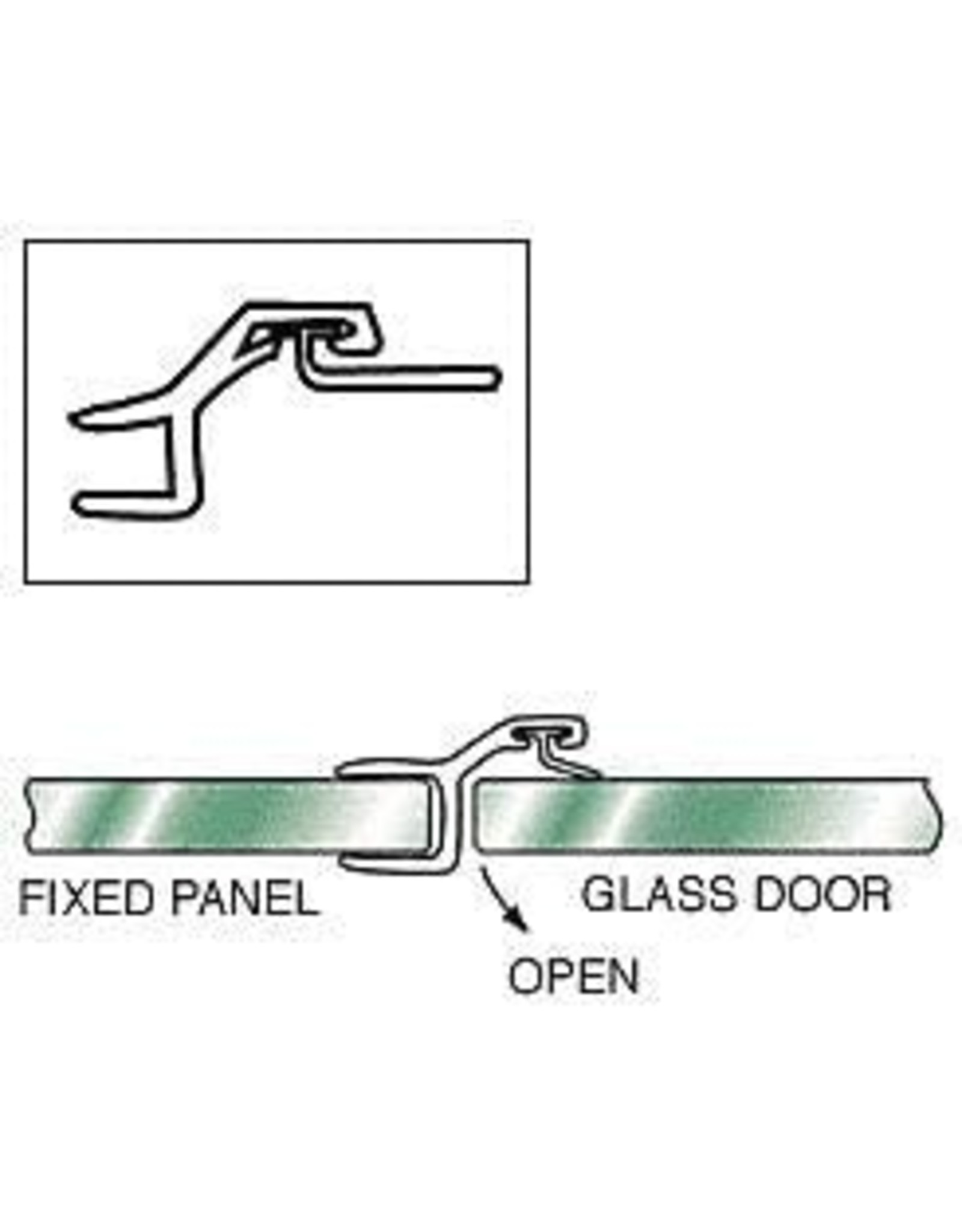 """CRL CRL Polycarbonate Strike and Door """"h"""" Jamb with Vinyl Insert for 180 Degree for 3/8"""" Glass - 95 in long"""
