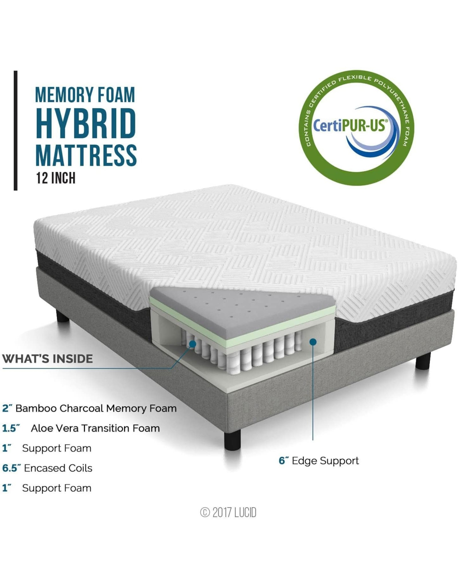 LUCID LUCID 12 Inch Hybrid Mattress - Bamboo Charcoal and Aloe Vera Infused Memory Foam - Motion Isolating Springs, Queen