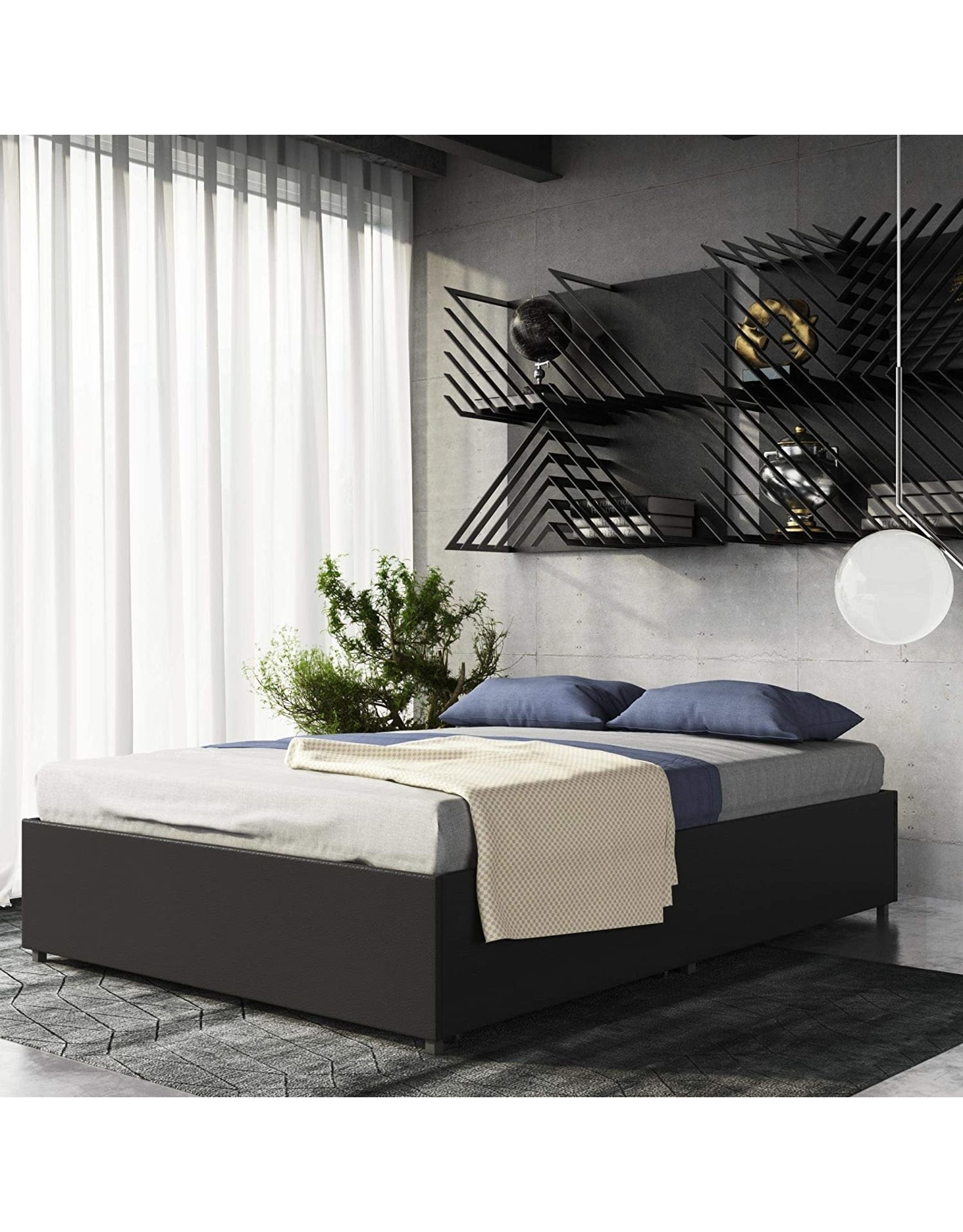 DHP DHP Maven Platform Bed with Upholstered Faux Leather and Wooden Slat Support and Under Bed Storage, Queen Size - Black