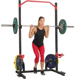 Sunny Health Sunny Health & Fitness Power Zone Squat Stand Rack Power Cage - SF-XF9931, Black/Red