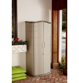 Rubbermaid Rubbermaid Vertical Resin Weather Resistant Outdoor Garden Storage Shed, 2x2.5 Feet, Olive and Sandstone