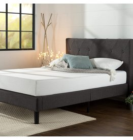 Zinus ZINUS Shalini Upholstered Platform Bed Frame / Mattress Foundation / Wood Slat Support / No Box Spring Needed / Easy Assembly, Dark Grey, Queen