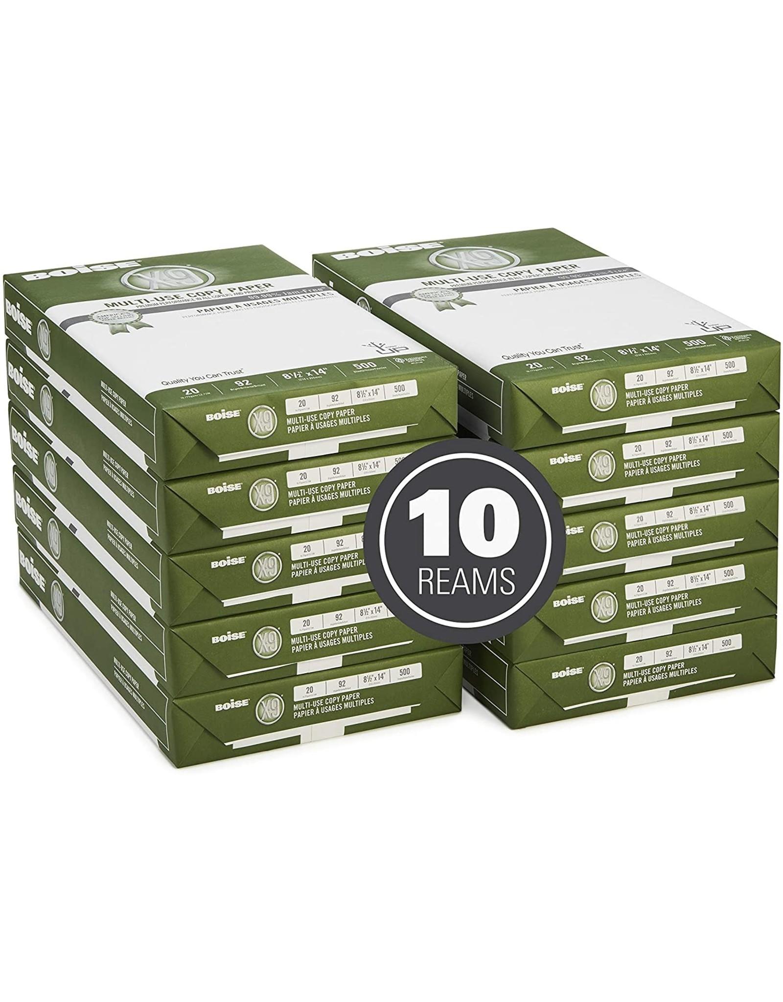 "Boise Paper Boise Paper X-9 Multi-Use Copy Paper, 8.5"" x 14"" Legal, 92 Bright White, 20 lb, 10 Ream Carton (5,000 Sheets)"