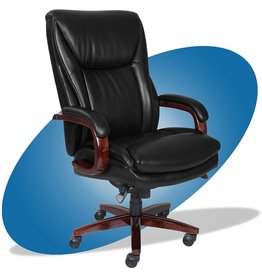 La-Z-Boy La-Z-Boy Edmonton Big and Tall Executive Office Chair with Comfort Core Cushions, Solid Wood Arms and Base, Waterfall Seat Edge, Bonded Leather, Big & Tall, Black
