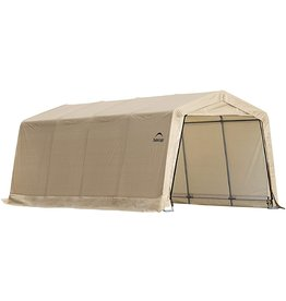 ShelterLogic ShelterLogic 10' x 15' x 8' All-Steel Metal Frame Peak Style Roof Instant Garage and AutoShelter with Waterproof and UV-Treated Ripstop Cover, Sandstone