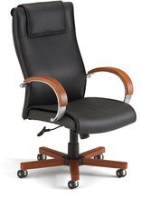 OFM OFM Apex Hi-Back Executive Leather Chair - High Back Office Chair, Cherry