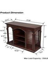 """CHADIOR CHADIOR TV Stand for Up to 55"""" Entertainment Center for Flat Screen with Tempered Glass Storage Shelves for Living Room, Walnut"""