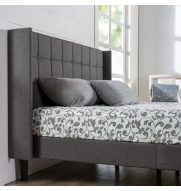 Zinus ZINUS Dori Upholstered Platform Bed Frame with Wingback Headboard / Mattress Foundation / Wood Slat Support / No Box Spring Needed / Easy Assembly, King
