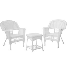 Jeco Jeco 3 Piece Wicker Chair and End Table Set without Cushion, White