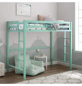 Walker Edison Walker Edison Furniture Premium Twin Metal Loft Bed, Mint