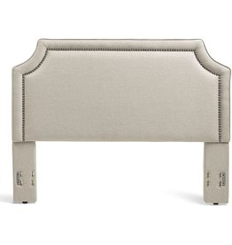 Mantua Mantua Brossard Upholstered Headboard with Nail Head Trim, Tailored Taupe Linen Over Padded Wood Frame, Modern and Sculpted Look, Fits King and California King Bed Frames and Mattresses