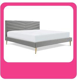Adore Decor Adore Decor Sidney Upholstered Platform Bed, Plush Tufted Velvet Headboard with Chevron Stitching, Mid Century Modern Design, Gold Slanted Legs, King Size, Gray