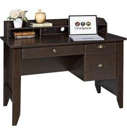 OneSpace OneSpace Executive Desk with Hutch, Espresso