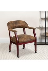 Flash Furniture Flash Furniture Bomber Jacket Brown Luxurious Conference Chair with Accent Nail Trim and Casters