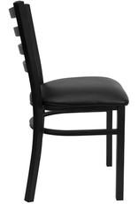 Flash Furniture Flash Furniture 4 Pk. HERCULES Series Black Ladder Back Metal Restaurant Chair - Black Vinyl Seat