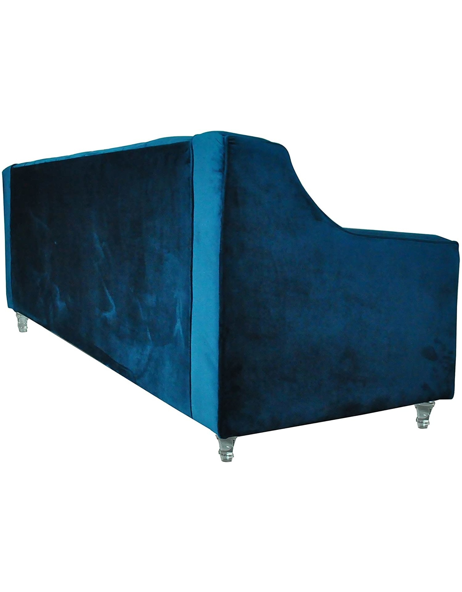 Iconic Home Iconic Home Dylan Velvet Modern Contemporary Button Tufted with Silver Nailhead Trim Round Acrylic Feet Sofa