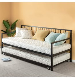 Zinus Zinus Eden Twin Daybed and Trundle Set / Premium Steel Slat Support / Daybed and Roll Out Trundle Accommodate Twin Size Mattresses Sold Separately