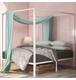 Zinus Zinus Patricia White Metal Framed Canopy Four Poster Platform Bed Frame / Strong Steel Mattress Support / No Box Spring Needed, Full