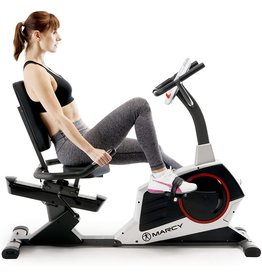 Marcy Marcy Regenerating Recumbent Exercise Bike with Adjustable Seat, Pulse Monitor and Transport Wheels ME-706