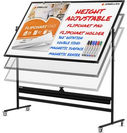 KAMELLEO Mobile Whiteboard - 70x36 Large Height Adjust 360degree Rolling Double Sided Dry Erase Board, Magnetic White Board on Wheels, Office Classroom Portable Easel with Stand, Flip Chart Holders and Pad  Black