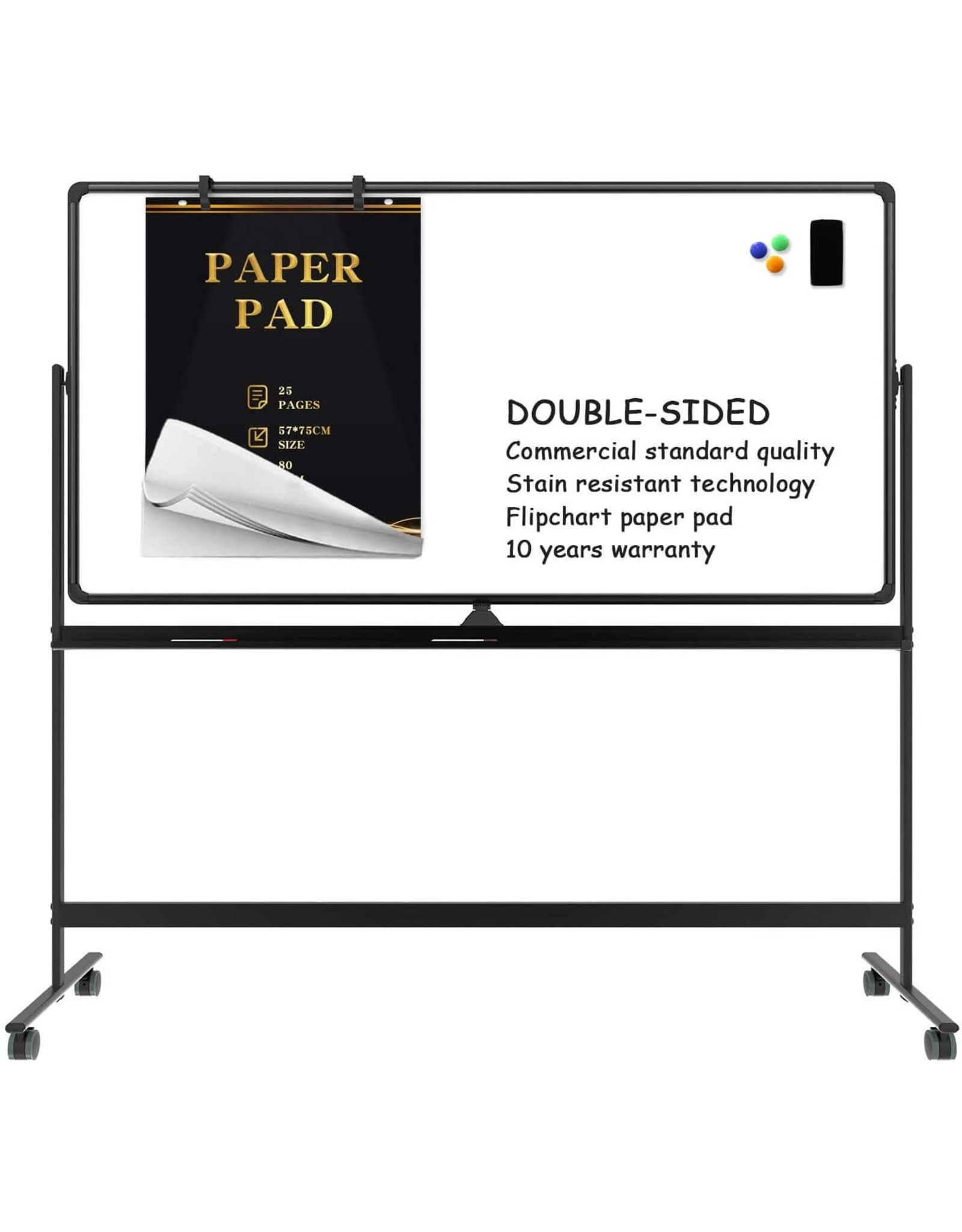 Tankee Mobile whiteboard Magnetic White Board - 70 x 36 inches Double Sided Rolling Large Reversible Dry Erase Board Easel Free Standing on Wheels with Aluminum Frame and Stand