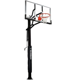 """Silverback Silverback 60"""" In-Ground Basketball Hoop, Adjustable Height Tempered Glass Backboard and Pro-style flex Rim"""