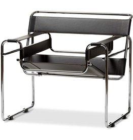 Baxton Studio Baxton Studio Modern Leather Accent Chair, Black and Chrome