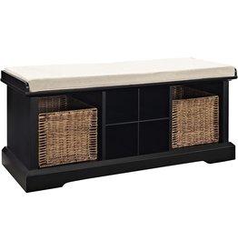 Crosley Furniture Crosley Furniture Brennan Entryway Storage Bench with Wicker Baskets and Cushion, Black