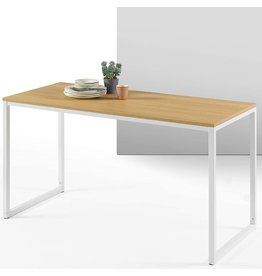 Zinus ZINUS Jennifer 55 Inch White Frame Desk / Computer Workstation / Office Desk / Easy Assembly, Natural
