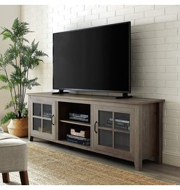 Walker Edison Walker Edison Portsmouth Classic 2 Glass Door TV Stand for TVs up to 80 Inches, 70 Inch, Grey Wash