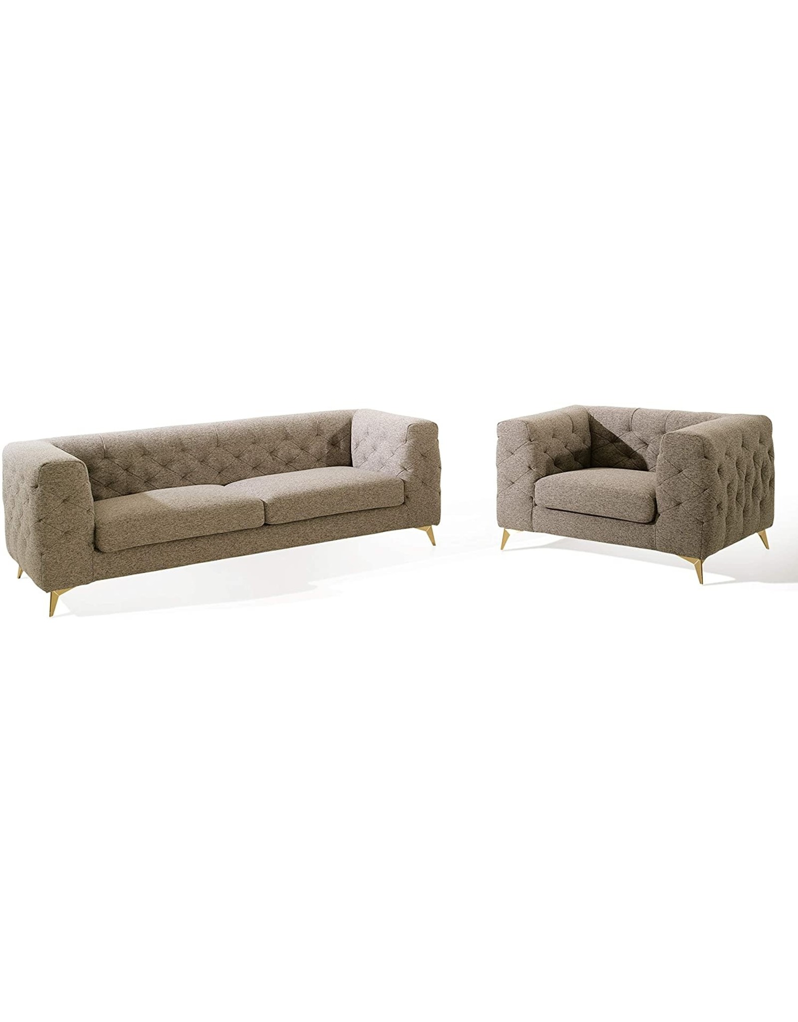 Iconic Home Iconic Home Soho Accent Club Chair Linen Textured Upholstery Plush Tufted Shelter Arm Solid Gold Tone Metal Legs Modern Transitional, SANDY