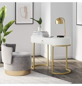Nathan James Nathan James Leighton Small Oval Glam Brass Accents, Vanity or Writing Desk for Home or Office, White/Gold