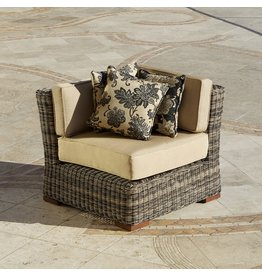 RST Outdoor RST Brands OP-PE36C-LNK-WG Resort Collection 36-Inch Corner Section Rattan Patio Furniture, Weathered Gray