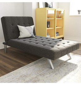 DHP DHP Emily Chaise Lounger With Chrome Legs, Grey Linen