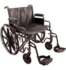 """Roscoe Medical ProBasics K7 Heavy-Duty Wheelchair with 24"""" x 18"""" Vinyl Upholstered Seat, Removable Desk-Length Arms, and Swing Away Foot Rests, Supports Patient Weights up to 450 pounds"""