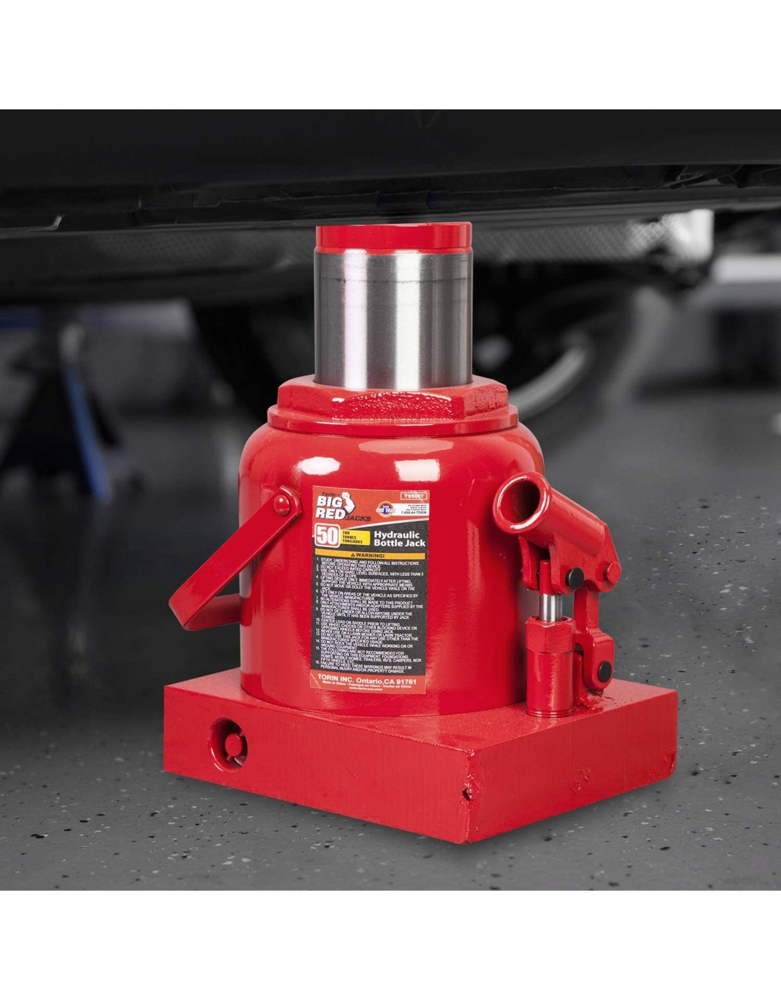 BIG RED BIG RED T95007 Torin Hydraulic Stubby Low Profile Welded Bottle Jack, 50 Ton (100,000 lb) Capacity, Red