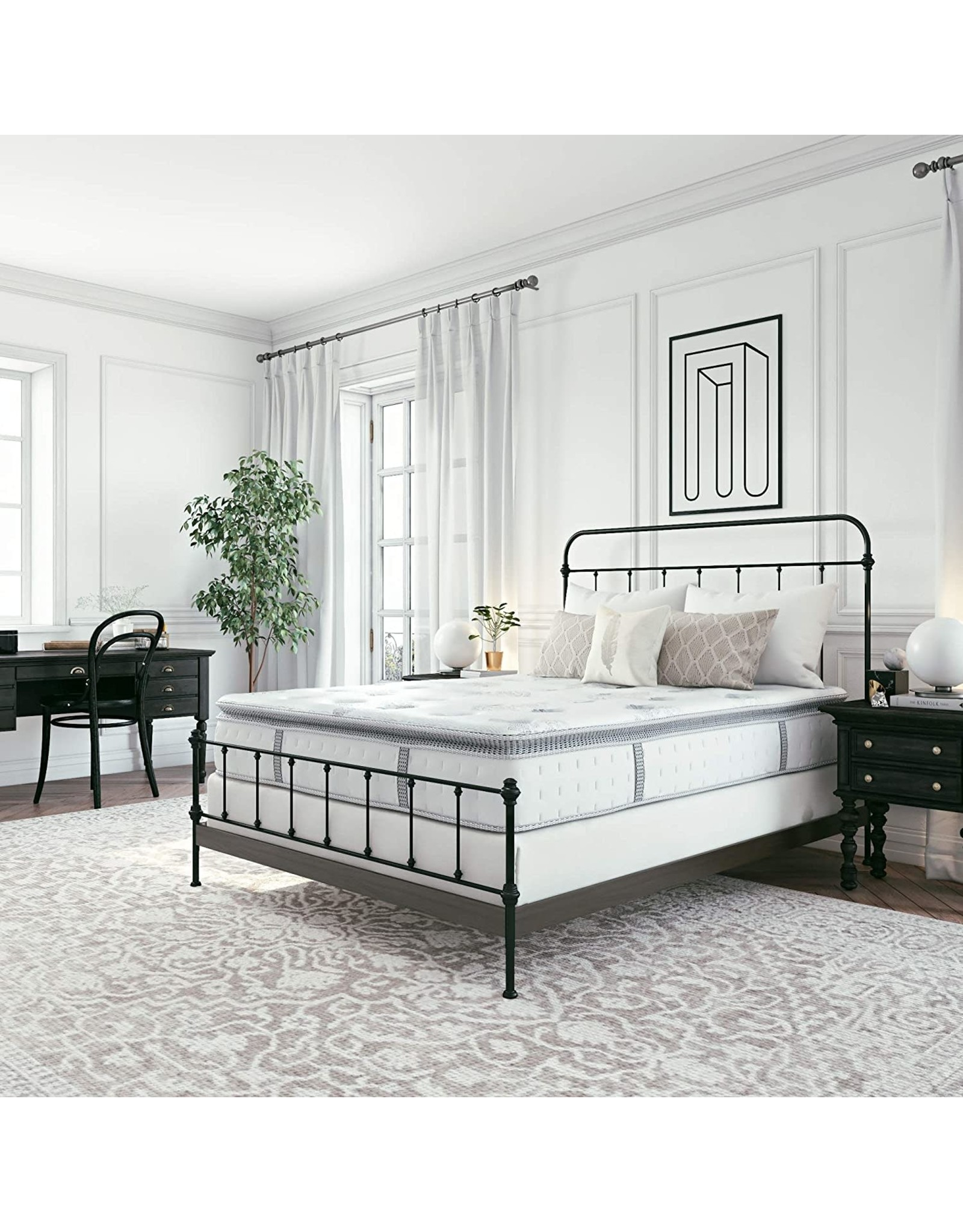 Classic Brands Classic Brands Mercer Cool Gel Memory Foam and Innerspring Hybrid 12-Inch Pillow Top Mattress  Bed-in-a-Box California King