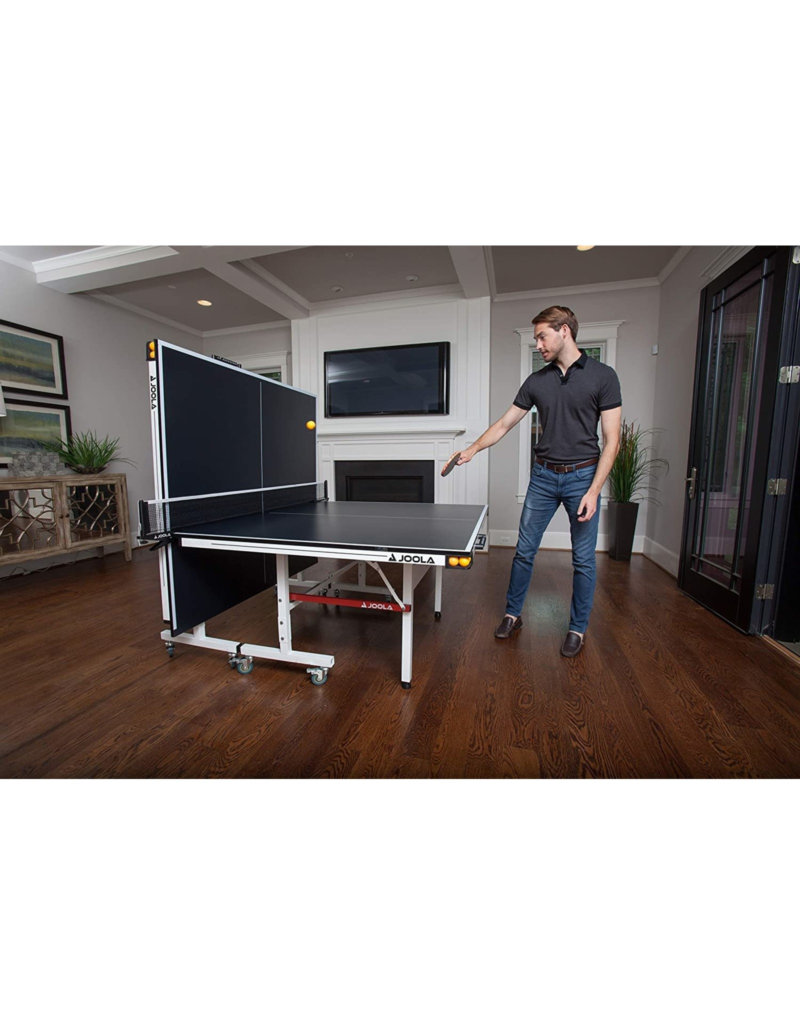 JOOLA JOOLA Rally TL - Professional MDF Indoor Table Tennis Table w/ Quick Clamp Ping Pong Net & Post Set - 10 Minute Easy Assembly - Corner Ball Holders - Ping Pong Table w/ Playback Mode,