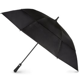 totes totes Automatic Open Extra Large Vented Canopy Golf Stick Umbrella, Black