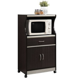 Hodedah Hodedah Microwave Cart with One Drawer, Two Doors, and Shelf for Storage, Chocolate