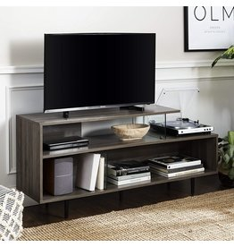 """Walker Edison Walker Edison Asymmetrical Wood and Glass Universal TV Stand with Open Shelves Cabinet Doors Storage for TV's up to 64""""Flat Screen Living Room Storage Entertainment Center Slate Grey60 Inch"""