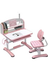 HatPanda Childrens Desk, Height Adjustable Study Desks Chairs Kids Combined Study Table and Chair LED Light Set (Pink-A)