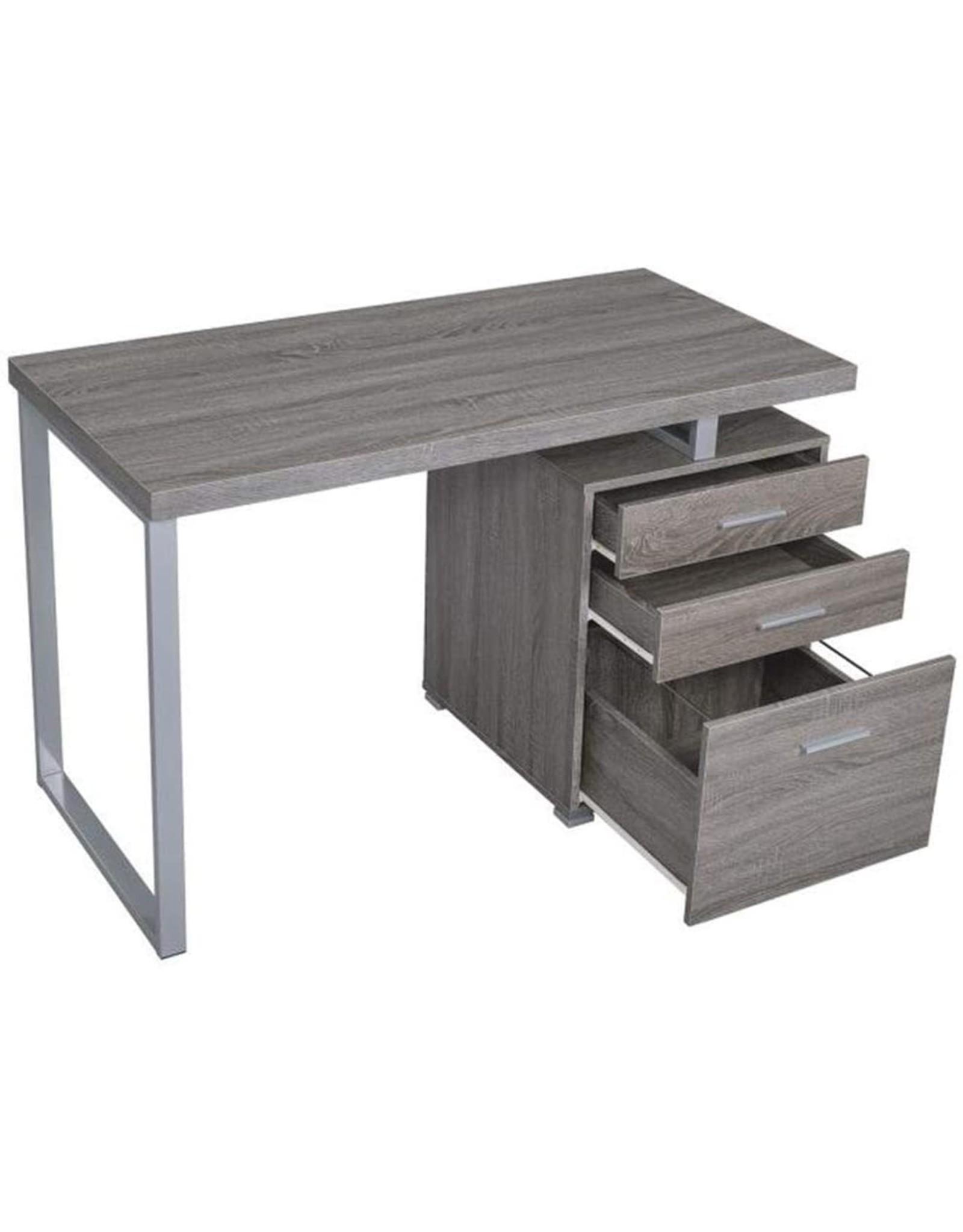 Coaster Home Furnishings Coaster Home Furniture Brennan 3-Drawer Reversible set up Office Desk  Weathered Grey