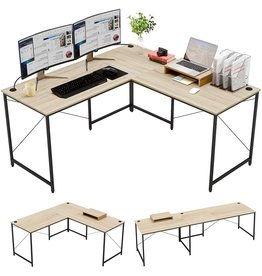 """BESTIER Bestier L-Shaped Computer Desk, 95.2"""" Two Person Large Gaming Office Desk, Adjustable L-Shaped or Long Desk Two Method with Free Monitor Stand, Home Writing Desk Table Build-in Cable Management (Oak)"""