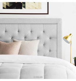 LUCID LUCID Bordered Upholstered Headboard with Diamond Tufting for King/California King Size Bed Frame (Stone)