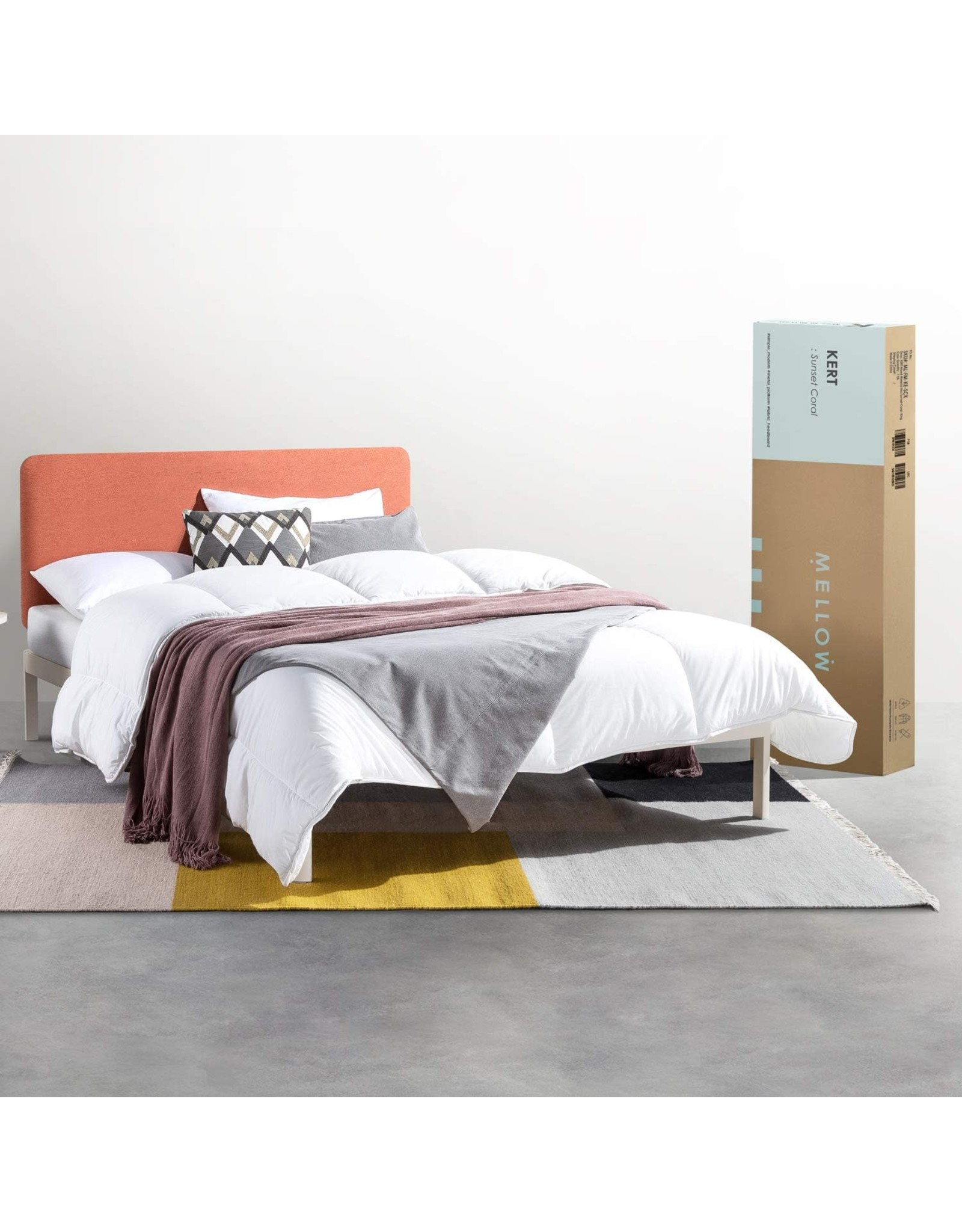Mellow Mellow KERT - Metal Platform Bed with Fabric Headboard, Easy Assembly, Rounded Legs and Corners, King, Sunset Coral (ML-FM-KE-SCK)