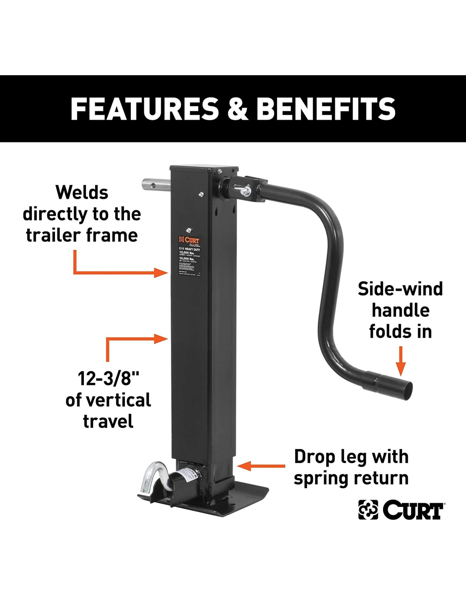 CURT CURT 28512 Direct Weld On Heavy-Duty Trailer Jack, 12,000 lbs. 12-3/8 Inches Vertical Travel