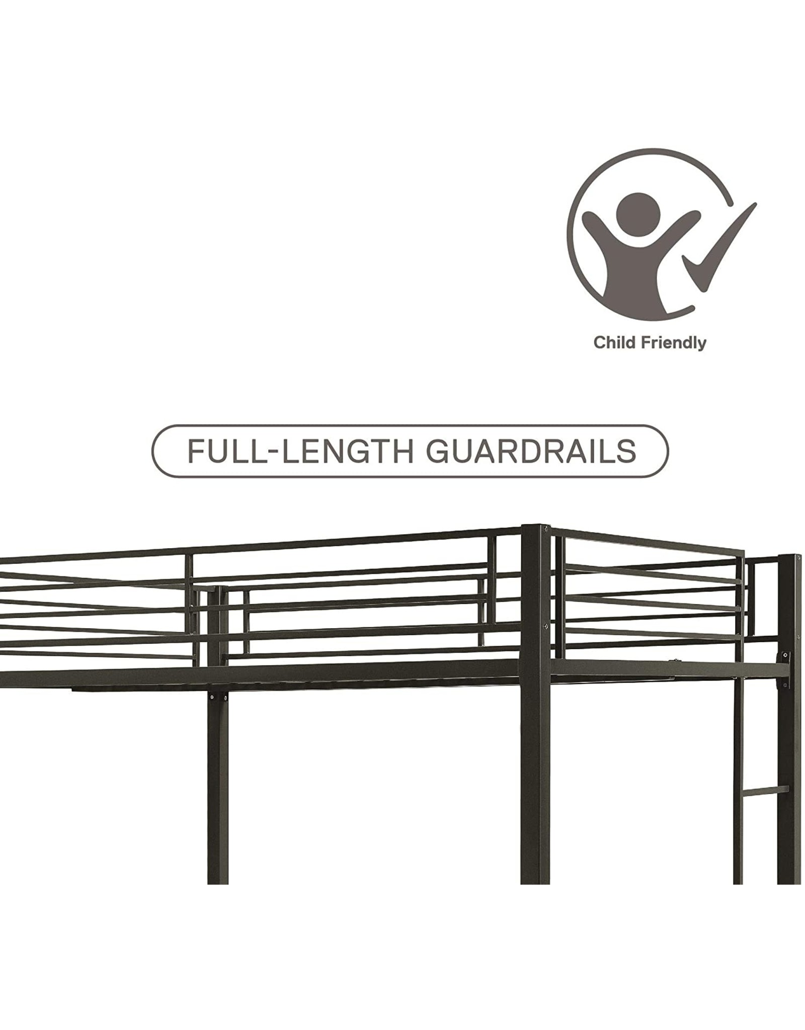 DHP DHP Full over Full Bunk Bed for Kids, Metal Frame with Ladder (Black)