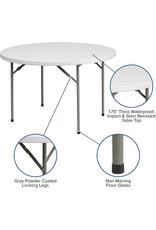 Flash Furniture Flash Furniture 4-Foot Round Granite White Plastic Folding Table