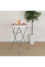 Flash Furniture Flash Furniture 2.6-Foot Round Granite White Plastic Bar Height Folding Table